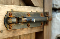 Bolted gate. Bolted wooden gate Stock Photos