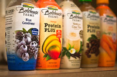 Bolthouse Farms Juice. A colorful spread of Juice and Protein drinks made by Bolthouse Farms Stock Photos