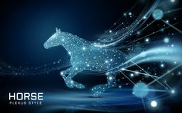 Bolting horse in plexus style. Beautiful polygonal spots and lines composed as a horse with flying bokeh glittersing bokeh glitters Royalty Free Stock Image