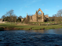 Bolton Abbey. Front view over the river Wharfe Royalty Free Stock Images