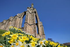 Bolton Abbey, North Yorkshire. The ruins of the Augustinian Priory at Bolton Abbey in Yorkshire, England, an English Heritage site. Spring sunshine with Royalty Free Stock Photography