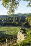Bolton Abbey, North Yorkshire. A view of Bolton Abbey church and ruins in Wharfedale, Yorkshire, England, in early morning light, across the river wharf Stock Images