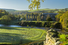 Bolton Abbey. The ruin of the 12th century priory church at Bolton Abbey, Skipton, North Yorkshire, England, overlooking the river Wharfe in early morning Stock Images
