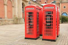 Bolton town, UK. Bolton red telephone boxes. North West England, UK Royalty Free Stock Photo