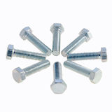 Bolts. A selection of eight bolts, arranged in a star, isolated on white stock photography