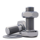 Bolts. And nuts. 3d background.  on white Royalty Free Stock Image