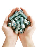 Bolts. In hands on a white background Stock Photography
