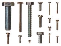 Bolts. Collection of isolated metal bolts Stock Photography