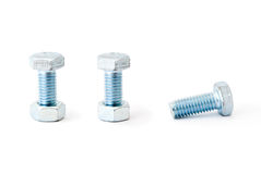 Bolts with female screws. Two bolts with female screws and one without it royalty free stock images