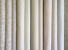 Bolts of neutral fabric Stock Images