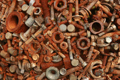 Bolts and nuts. Welded rusty bolts and nuts royalty free stock images