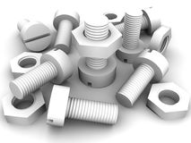 Bolts and nuts. 3d Very beautiful three-dimensional illustration, figure Royalty Free Stock Image
