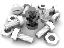 Bolts and nuts. 3d Very beautiful three-dimensional illustration, figure Royalty Free Stock Photos