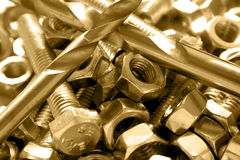 Bolts, nuts and drills Royalty Free Stock Photography