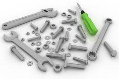 Bolts, nuts and pucks of different shapes and tools Royalty Free Stock Photos