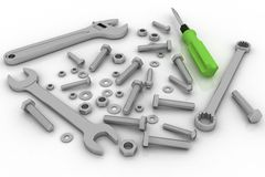 Bolts, nuts and pucks of different shapes and tools Stock Image