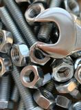Bolts, nuts and spanner Stock Photo