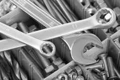 Bolts, nuts and spanners Royalty Free Stock Images