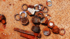 Bolts and nuts to put together a lot of rust Royalty Free Stock Photos