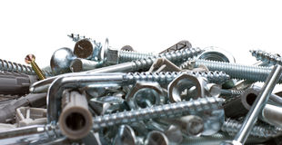 Bolts, nuts, washers, as background Royalty Free Stock Photos