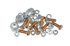 Bolts, nuts and washers isolated on white background Royalty Free Stock Images