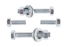 Bolts, nuts and washers on a white background Stock Image