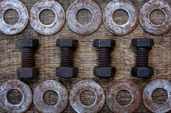 Bolts and ring rust Stock Photo