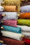Bolts/rolls of various colored fabric Stock Photos