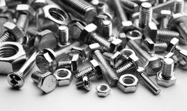 Bolts and screw. Bolts, screws, mono chrome photo Stock Photos