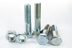Bolts and screws. On white background Royalty Free Stock Image