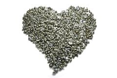 Bolts and Screws Closeup in Heart Group. Many Bolts and Screws Closeup in Heart Group Stock Image