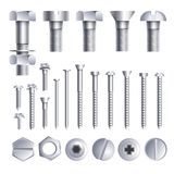 Bolts Screws Metal Pins With Different Head Slot And Thread Vector Icons Stock Photo