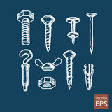 Bolts, screws and nuts set of icons Royalty Free Stock Photo