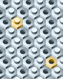 Bolts and screws pattern. Bolts and screws 3D pattern. Vector Illustration Stock Photo