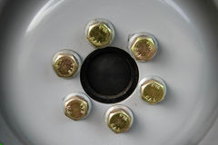 Bolts and wheels. Royalty Free Stock Photography