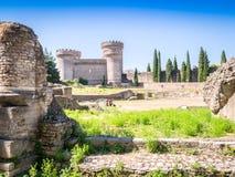 Bolwerk Rocca Pia en Amphitheater Di Bleso, Tivoli, Italië royalty-vrije stock foto's