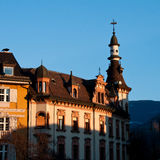 Bolzano/Bozen : Piazza Walther. A beautiful old house in Bolzano / Bozen (Italy) illuminated by the sunlight Royalty Free Stock Images