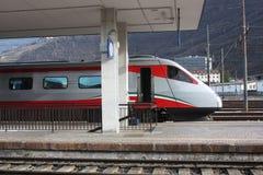 Bolzano-Bozen railway station, Italy. Train departure. Italy, Europe stock image