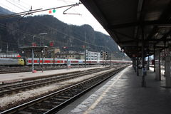 Bolzano-Bozen railway station, Italy. Train departure. Royalty Free Stock Photos