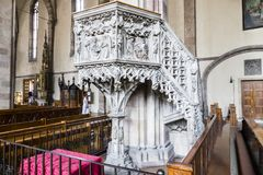 Bolzano-Bozen, South Tyrol, Italy. Pulpit inside the Cathedral of Bolzano, a late-Gothic church in Bolzano-Bozen, South Tyrol, Italy royalty free stock photos