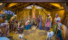 Christmas crib in Bolzano market. Trentino Alto Adige, Italy. Bolzano is the capital city of the province of South Tyrol in northern Italy. With a population of royalty free stock photography