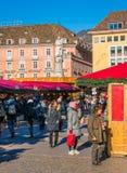 Christmas market in Bolzano on a sunny winter day. Trentino Alto Adige, Italy. stock image