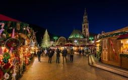 Bolzano Christmas market in the evening. Trentino Alto Adige, Italy. royalty free stock photos