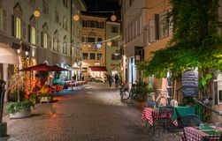 Bolzano in the evening during Christmas time. Trentino Alto Adige, Italy. Bolzano is the capital city of the province of South Tyrol in northern Italy. With a royalty free stock photography