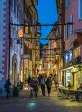 Bolzano in the evening during Christmas time. Trentino Alto Adige, Italy. royalty free stock image
