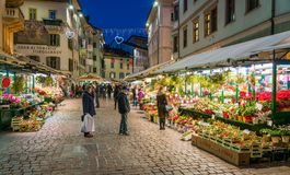 Bolzano in the evening during Christmas time. Trentino Alto Adige, Italy. royalty free stock images