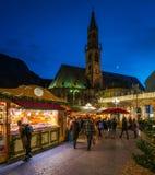 Bolzano Christmas market in the evening. Trentino Alto Adige, Italy. royalty free stock photography
