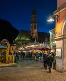 Bolzano Christmas market in the evening. Trentino Alto Adige, Italy. stock photo