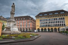 Piazza Walther Platz Square in Bozen with the monument to the poet Walther von der Vogelweide, Bolzano. Bolzano/Italia - 05/05/2018 - Piazza Walther Platz Square royalty free stock image