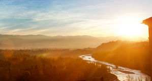 Bolzano, Italy - view of forest, mountains and creek near Bozen Stock Photos